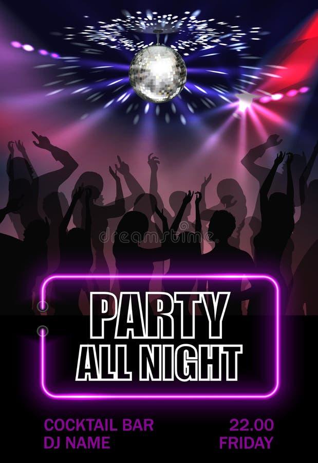 Ρεαλιστική αφίσα διαφήμισης κόμματος νύχτας διανυσματική απεικόνιση