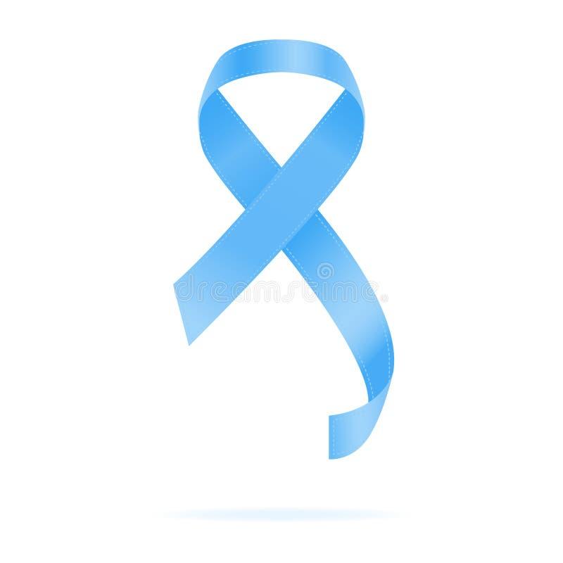 Ρεαλιστική μπλε κορδέλλα Έννοια ημέρας παγκόσμιου προστατική καρκίνου επίσης corel σύρετε το διάνυσμα απεικόνισης Έννοια υγειονομ ελεύθερη απεικόνιση δικαιώματος