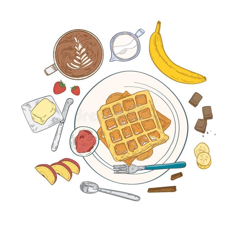 Ρεαλιστική σύνθεση με τα εύγευστα γλυκά γεύματα προγευμάτων και τα τρόφιμα πρωινού επιδορπίων - γκοφρέτες που βρίσκονται στο πιάτ ελεύθερη απεικόνιση δικαιώματος