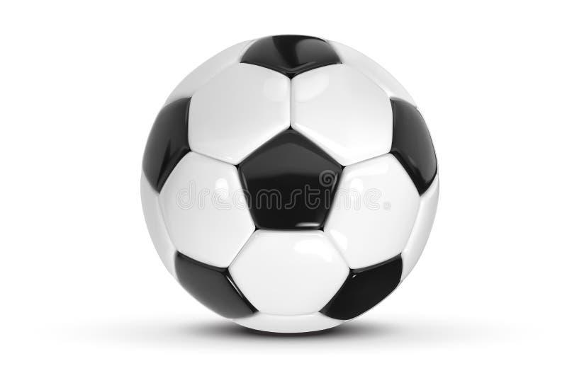 Ρεαλιστική σφαίρα ποδοσφαίρου ή σφαίρα ποδοσφαίρου στο άσπρο υπόβαθρο τρισδιάστατη διανυσματική σφαίρα ύφους που απομονώνεται στο απεικόνιση αποθεμάτων