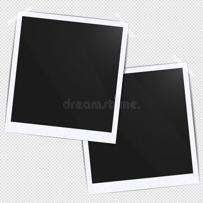 Ρεαλιστικό κενό πρότυπο batch πλαισίων φωτογραφιών μαύρο κενό που κολλιέται με την ταινία Το κάνετε με την απεικόνιση εργαλείων π διανυσματική απεικόνιση