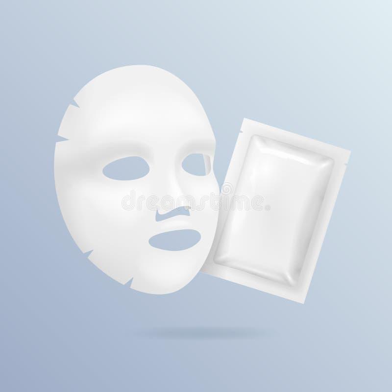 Ρεαλιστικό τρισδιάστατο λεπτομερές άσπρο κενό του προσώπου σύνολο προτύπων προτύπων καλλυντικών μασκών διάνυσμα απεικόνιση αποθεμάτων