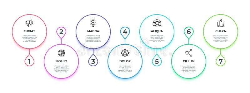 Ροή γραμμών infographic μινιμαλιστική γραφική παράσταση διαδικασίας εργασίας 7 βημάτων, έμβλημα ροής της δουλειάς παραγωγικότητας απεικόνιση αποθεμάτων