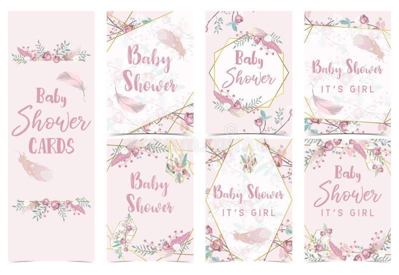 Ροζ χρυσή κάρτα πρόσκλησης ντους μωρών γεωμετρίας με ροδαλό, φύλλο, κορδέλλα, στεφάνι, φτερό διανυσματική απεικόνιση