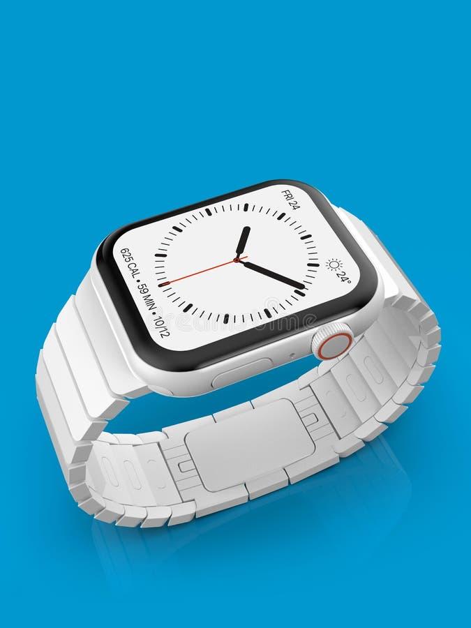 Ρολόι 4 της Apple άσπρη κεραμική πλασματική συσκευή φήμης, πρότυπο απεικόνιση αποθεμάτων