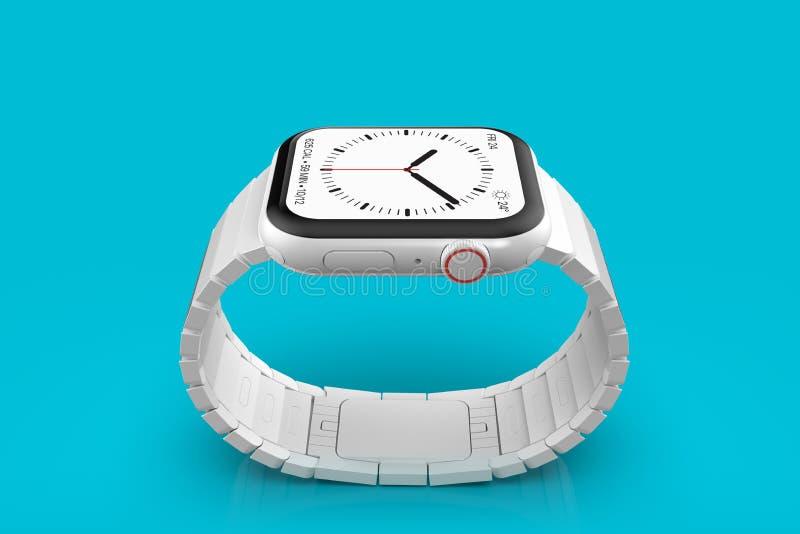 Ρολόι 4 της Apple άσπρη κεραμική πλασματική συσκευή φήμης, πρότυπο διανυσματική απεικόνιση