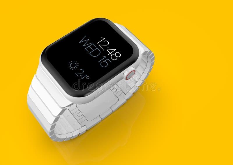 Ρολόι 4 της Apple άσπρη κεραμική πλασματική φήμη smartwatch, πρότυπο ελεύθερη απεικόνιση δικαιώματος