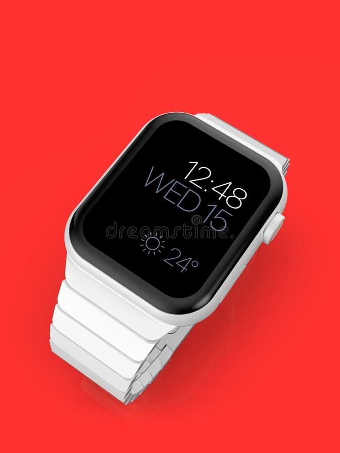 Ρολόι 4 της Apple άσπρη κεραμική πλασματική φήμη smartwatch, πρότυπο απεικόνιση αποθεμάτων