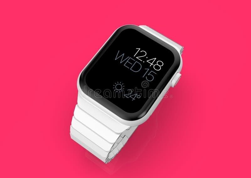 Ρολόι 4 της Apple άσπρη κεραμική πλασματική φήμη smartwatch, πρότυπο διανυσματική απεικόνιση