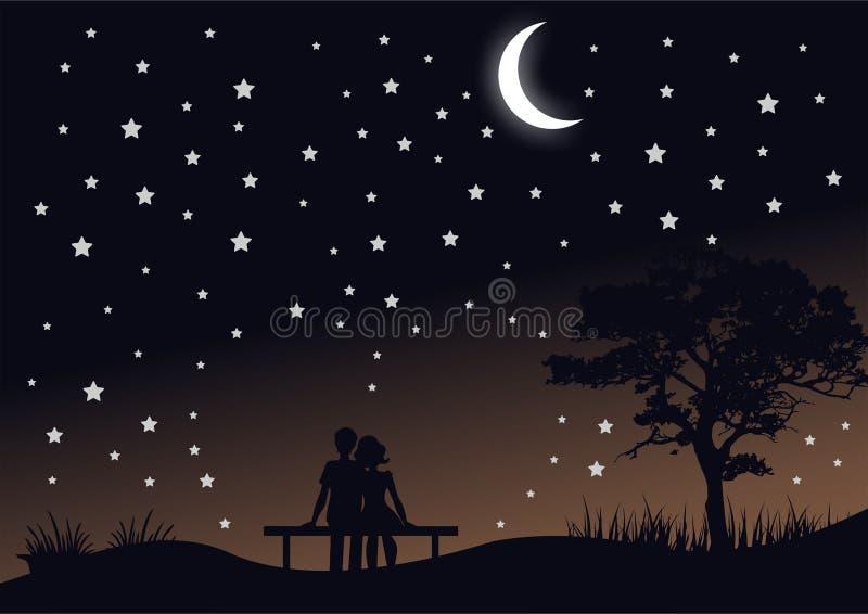 Ρομαντικό διάνυσμα τοπίων νύχτας σκιαγραφιών απεικόνιση αποθεμάτων