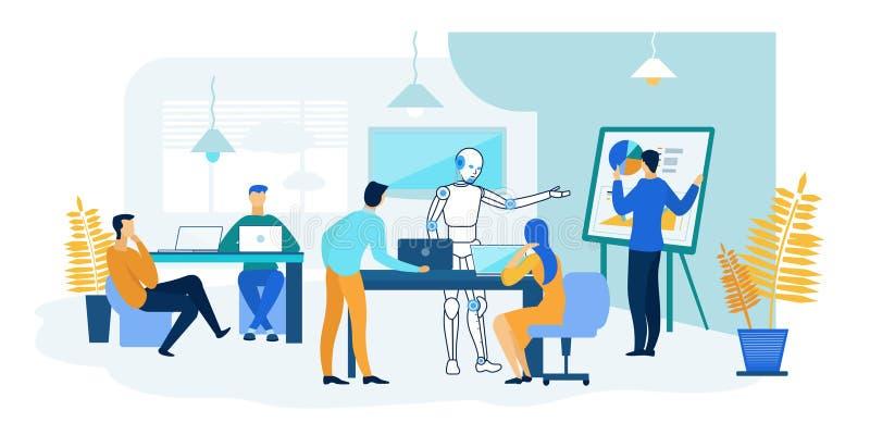 Ρομπότ και εργασία ανθρώπων από κοινού μελλοντική τεχνολογία απεικόνιση αποθεμάτων