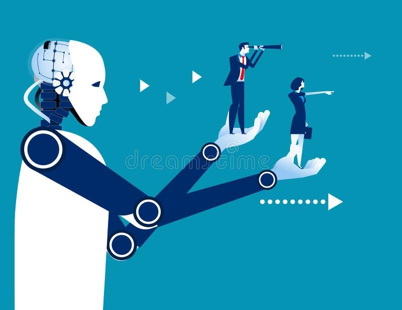 Ρομπότ που κρατά τους επιχειρηματίες Επιχειρησιακή διανυσματική απεικόνιση έννοιας τεχνολογία αυτοματοποίησης διανυσματική απεικόνιση