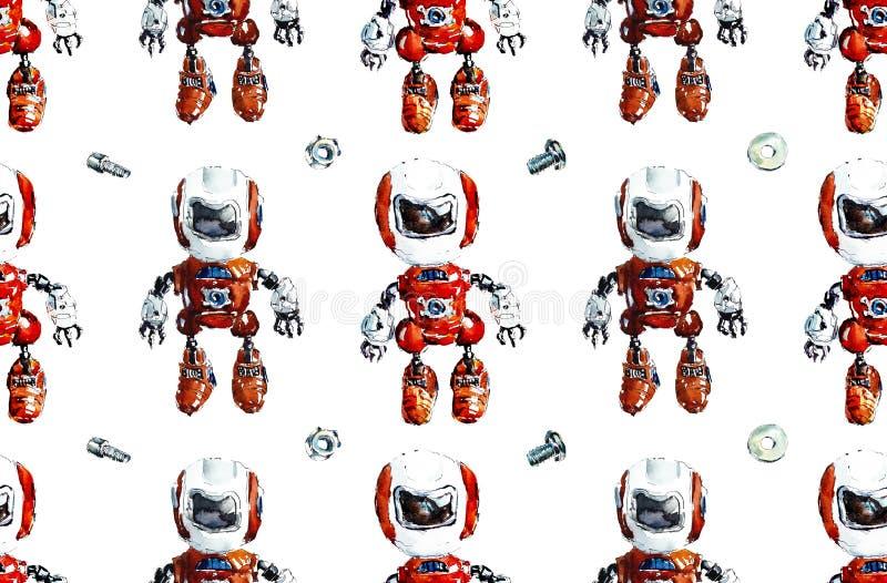 ρομπότ προτύπων άνευ ραφής Συρμένη χέρι απεικόνιση Watercolor απεικόνιση αποθεμάτων