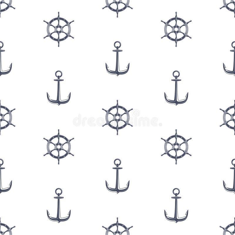 Ρόδα σκαφών και σχέδιο αγκύρων απεικόνιση αποθεμάτων