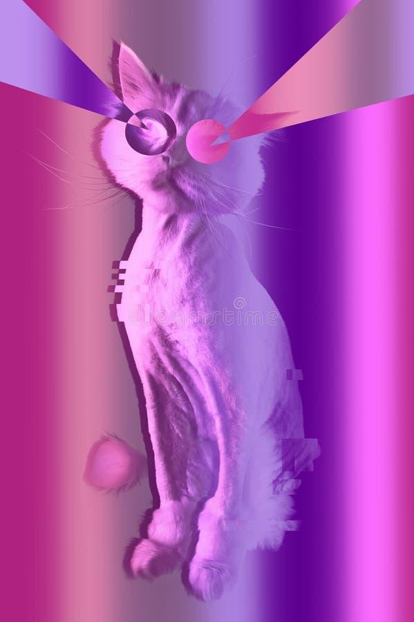 Ρόδινη γάτα Αναδρομικό πορτρέτο κυμάτων synth vaporwave μιας αστείας γάτας Έννοια των αφισών ύφους της Μέμφιδας στοκ εικόνες με δικαίωμα ελεύθερης χρήσης