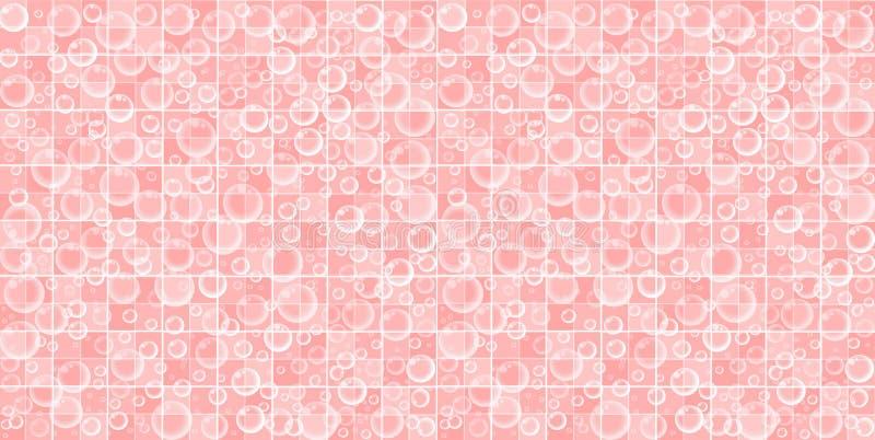 Ρόδινος κεραμωμένος λουτρό τοίχος με τις πετώντας φυσαλίδες σαπουνιών απεικόνιση αποθεμάτων