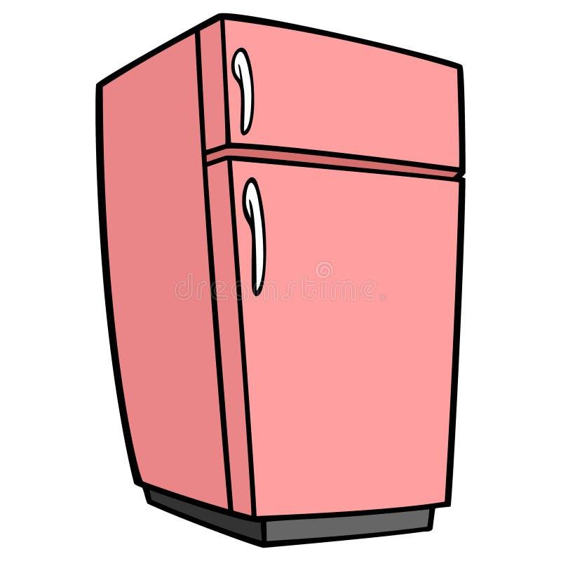 Ρόδινο αναδρομικό ψυγείο διανυσματική απεικόνιση