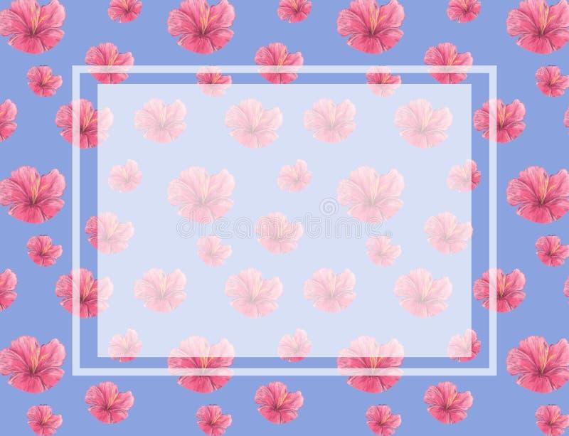 Ρόδινο υπόβαθρο ανθών σχεδίων λουλουδιών Watercolor Η γαμήλια κάρτα, εορτασμός, προσκαλεί το μπλε υπόβαθρο σχεδίου καρτών απεικόνιση αποθεμάτων