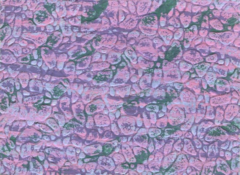 Ρόδινο υπόβαθρο σύστασης watercolor, χρωματισμένη χέρι απεικόνιση αφηρημένες γραμμές και πράσινο splot, κρατήρες ερήμων άμμου απεικόνιση αποθεμάτων