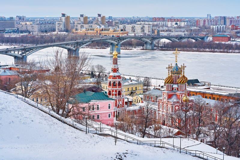 ΡΩΣΙΑ, Nizhniy Novgorod- Mart 10, 2019: πανόραμα της χειμερινής πόλης στοκ εικόνα