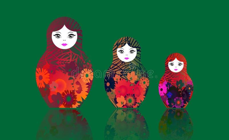 Ρωσικό να τοποθετηθεί matrioshka κουκλών, καθορισμένο ζωηρόχρωμο σύμβολο εικονιδίων της Ρωσίας Πολυ χρωματισμένο λουλούδια ύφος Δ απεικόνιση αποθεμάτων