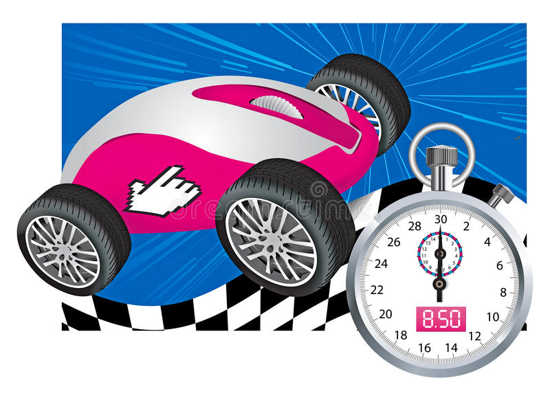 �omputer mouse and stopwatch. �omputer mouse in the car as the concept of the Internet at a very fast speed royalty free illustration
