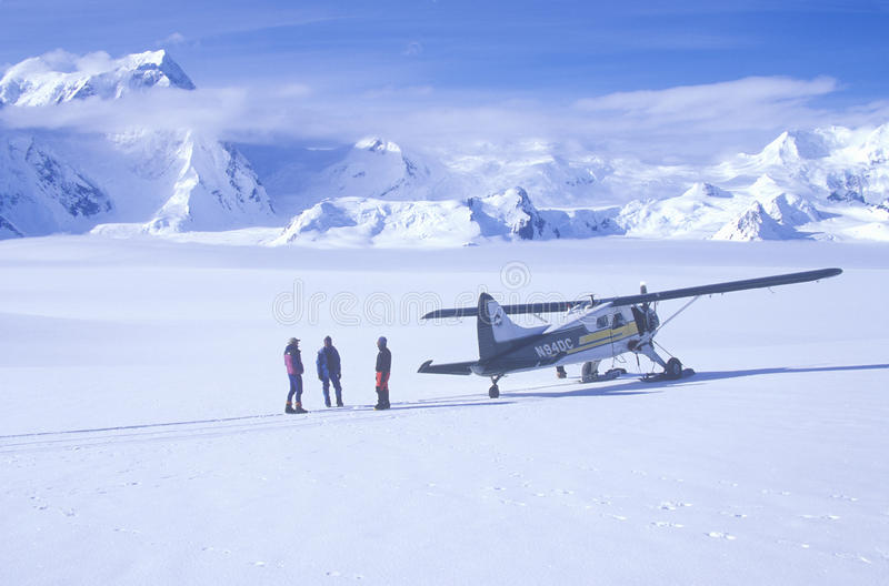 �Scout� bush airplane on glacier in St. Elias National Park and Preserve, Wrangell Mountains, Wrangell, Alaska royalty free stock image