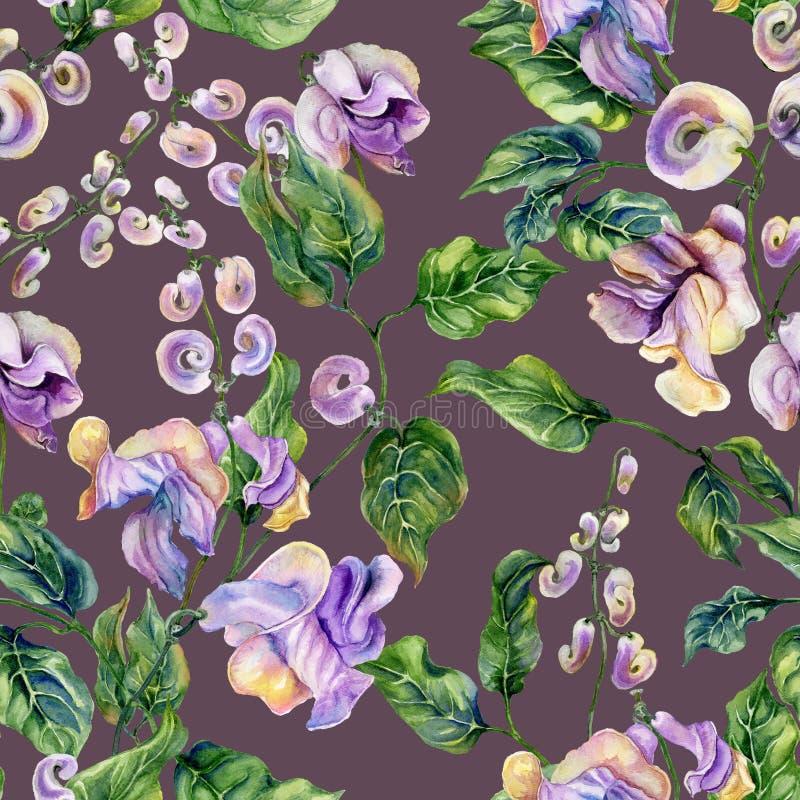 Όμορφοι κλαδίσκοι αμπέλων σαλιγκαριών με τα πορφυρά λουλούδια στο υπόβαθρο χρώματος δαμάσκηνων floral πρότυπο άνευ ραφής υψηλό wa διανυσματική απεικόνιση