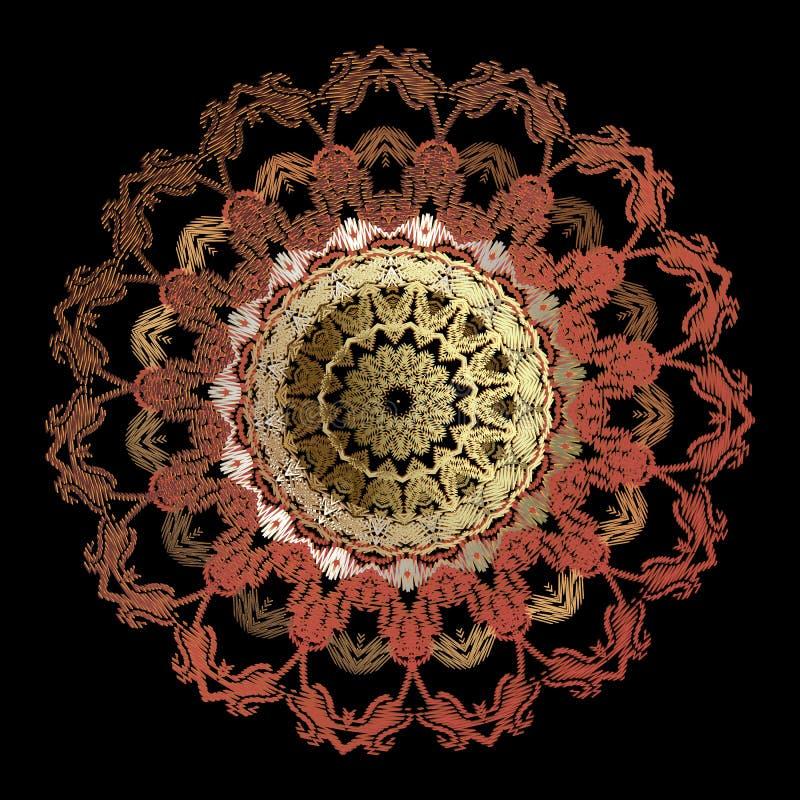 Όμορφος κατασκευασμένος τάπητας γύρω από το μπαρόκ σχέδιο mandala Διανυσματικό διακοσμητικό υπόβαθρο grunge Εκλεκτής ποιότητας κε διανυσματική απεικόνιση