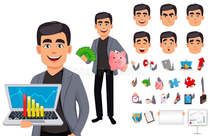 Όμορφος χαρακτήρας κινουμένων σχεδίων επιχειρησιακών ατόμων διανυσματική απεικόνιση