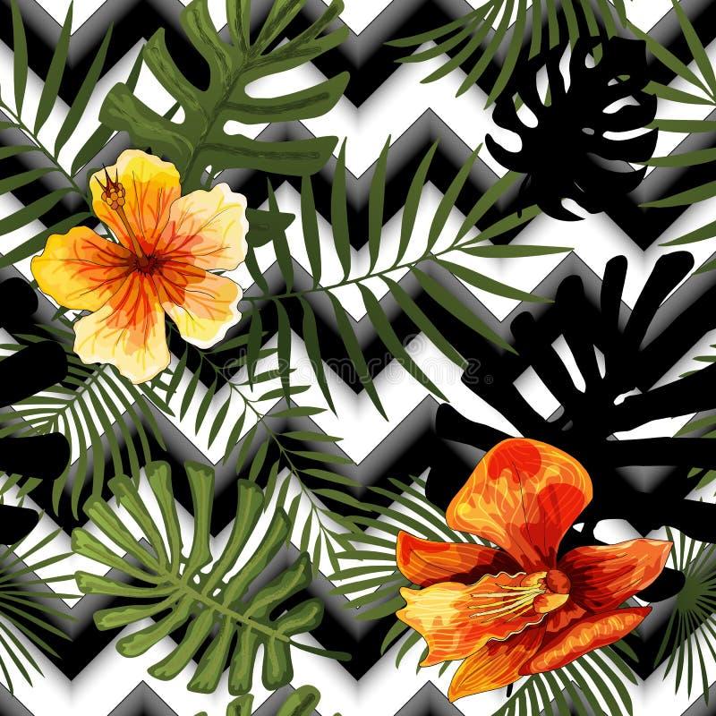 Όμορφο άνευ ραφής διανυσματικό σχέδιο φύλλων χρώματος λουλουδιών τροπικό αφηρημένο ελεύθερη απεικόνιση δικαιώματος