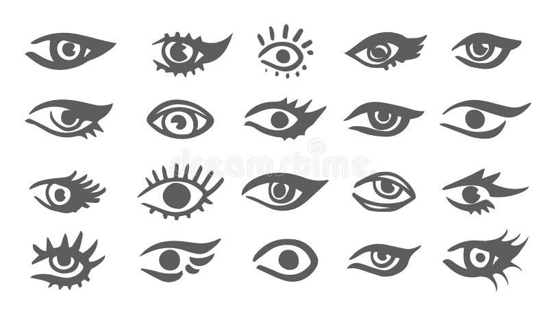 Όμορφο γυναικών σχέδιο μελανιού ματιών διανυσματικό απεικόνιση Μαύρο άσπρο σύνολο διανυσματική απεικόνιση