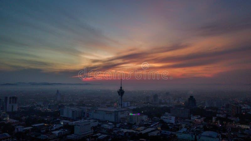 Όμορφο εναέριο τοπίο Alor Setar Μαλαισία Ο διασημότερος πύργος Alor Setar στη Μαλαισία στοκ εικόνες