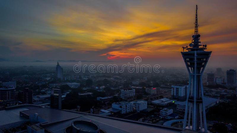 Όμορφο εναέριο τοπίο Alor Setar Μαλαισία Ο διασημότερος πύργος Alor Setar στη Μαλαισία στοκ φωτογραφίες με δικαίωμα ελεύθερης χρήσης
