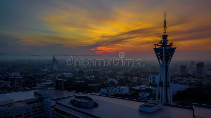 Όμορφο εναέριο τοπίο Alor Setar Μαλαισία Ο διασημότερος πύργος Alor Setar στη Μαλαισία στοκ εικόνα