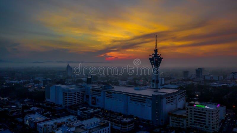 Όμορφο εναέριο τοπίο Alor Setar Μαλαισία Ο διασημότερος πύργος Alor Setar στη Μαλαισία στοκ φωτογραφία με δικαίωμα ελεύθερης χρήσης