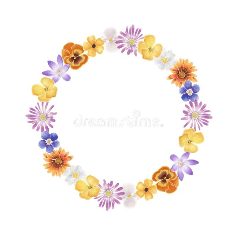 Όμορφο και ζωηρόχρωμο στεφάνι λουλουδιών άνοιξη ελεύθερη απεικόνιση δικαιώματος