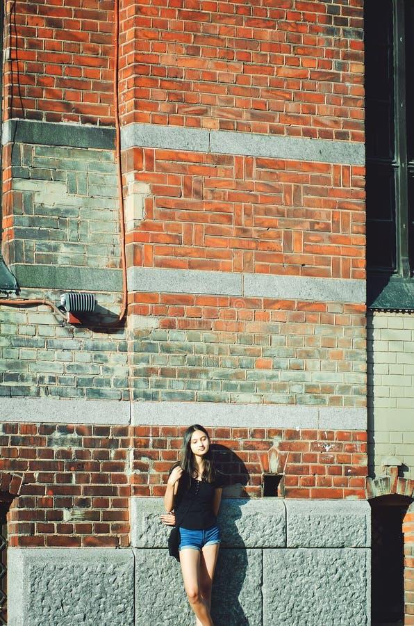 Όμορφο κορίτσι με τη μακριά σκοτεινή τρίχα στο υπόβαθρο τουβλότοιχος στοκ φωτογραφία με δικαίωμα ελεύθερης χρήσης