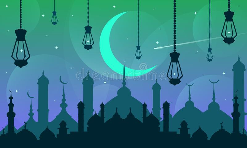Όμορφο μουσουλμανικό τέμενος νύχτας ημέρας ελαφρύ απεικόνιση αποθεμάτων