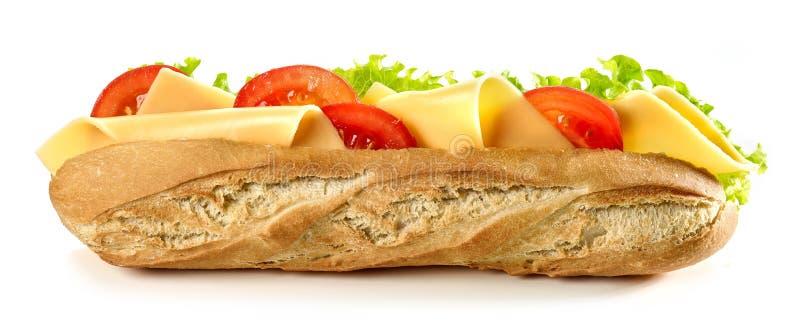 Σάντουιτς Baguette με το τυρί και την ντομάτα στοκ φωτογραφία με δικαίωμα ελεύθερης χρήσης