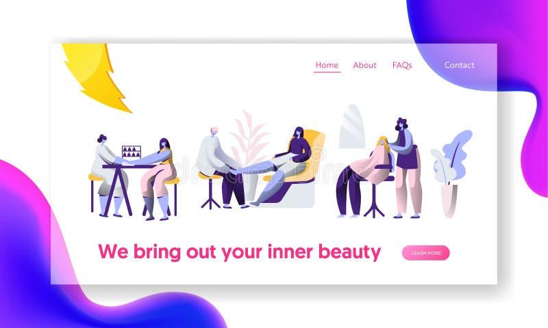Σαλόνι Hairstyle πολυτέλειας ομορφιάς Καθαρό νύχι στιλίστων, Hairdressing διαδικασία Προσγειωμένος σελίδα υπηρεσιών πελατών μοντέ ελεύθερη απεικόνιση δικαιώματος