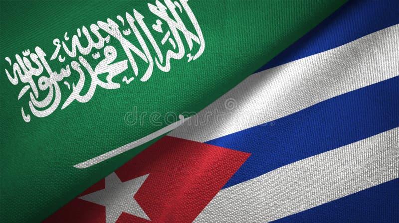 Σαουδική Αραβία και Κούβα δύο υφαντικό ύφασμα σημαιών, σύσταση υφάσματος απεικόνιση αποθεμάτων