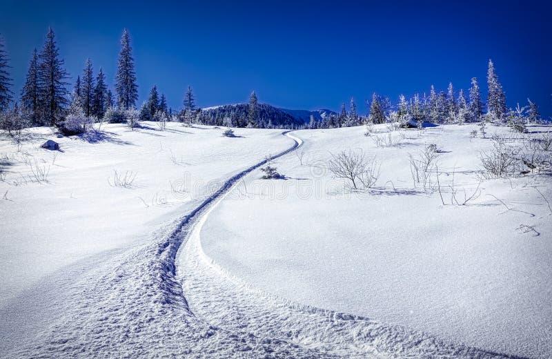 Σαφής χειμερινή ημέρα στο βουνό στοκ φωτογραφία
