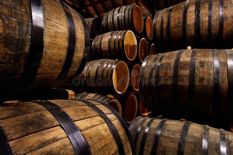 Σειρές των οινοπνευματωδών τυμπάνων στο απόθεμα οινοπνευματοποιία Κονιάκ, ουίσκυ, κρασί, κονιάκ Οινόπνευμα στα βαρέλια στοκ φωτογραφία με δικαίωμα ελεύθερης χρήσης