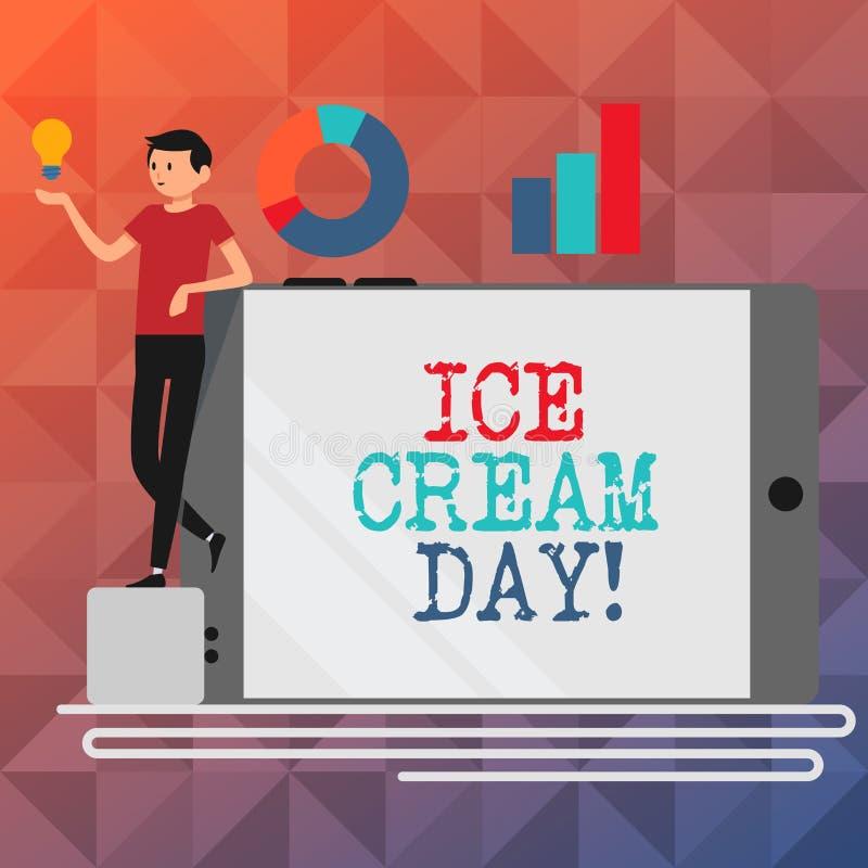 Σημάδι κειμένων που παρουσιάζει ημέρα παγωτού Εννοιολογική ειδική στιγμή φωτογραφιών για την κατανάλωση κάτι γλυκιά ευτυχία επιδο απεικόνιση αποθεμάτων