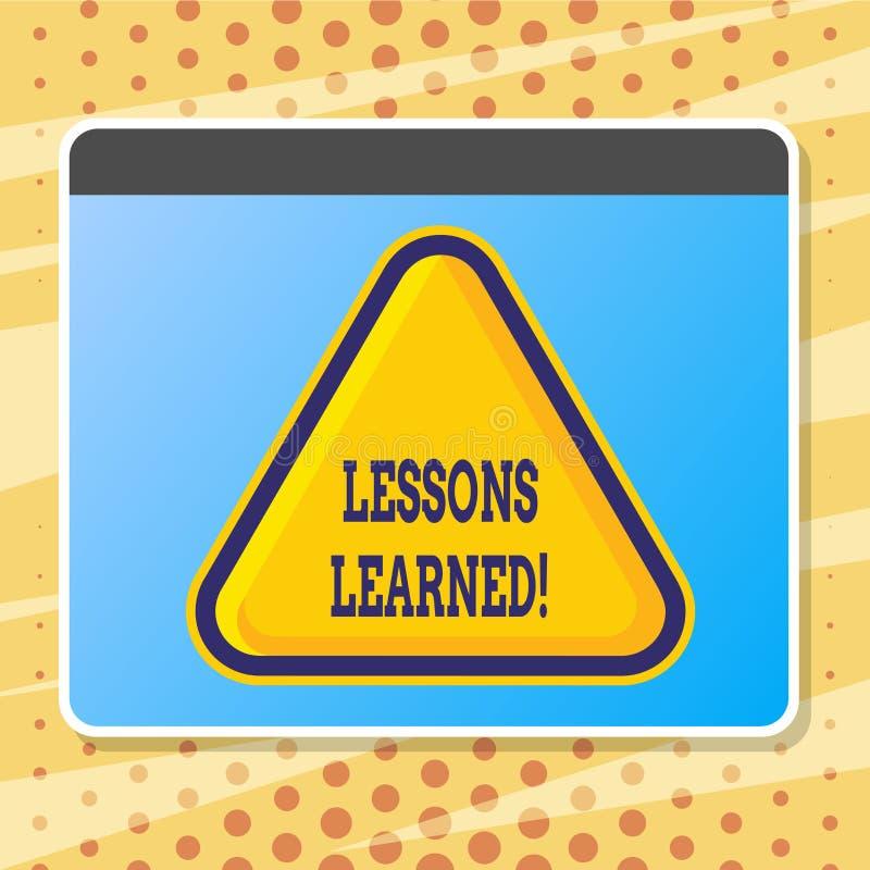 Σημάδι κειμένων που παρουσιάζει παθήματα που γίνονται μαθήματα Εννοιολογική εμπειρία φωτογραφιών που πρέπει να ληφθεί υπόψη στο μ ελεύθερη απεικόνιση δικαιώματος
