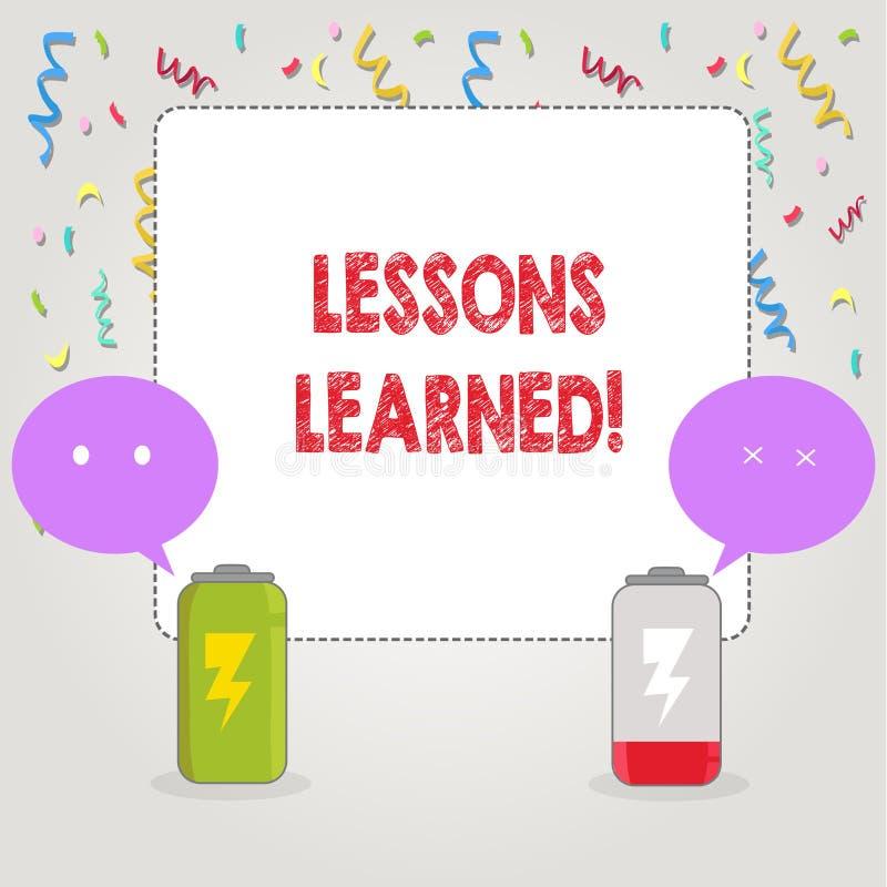 Σημάδι κειμένων που παρουσιάζει παθήματα που γίνονται μαθήματα Εννοιολογική εμπειρία φωτογραφιών που πρέπει να ληφθεί υπόψη στο μ απεικόνιση αποθεμάτων