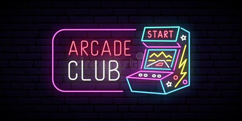 Σημάδι νέου μηχανών παιχνιδιών Arcade διανυσματική απεικόνιση