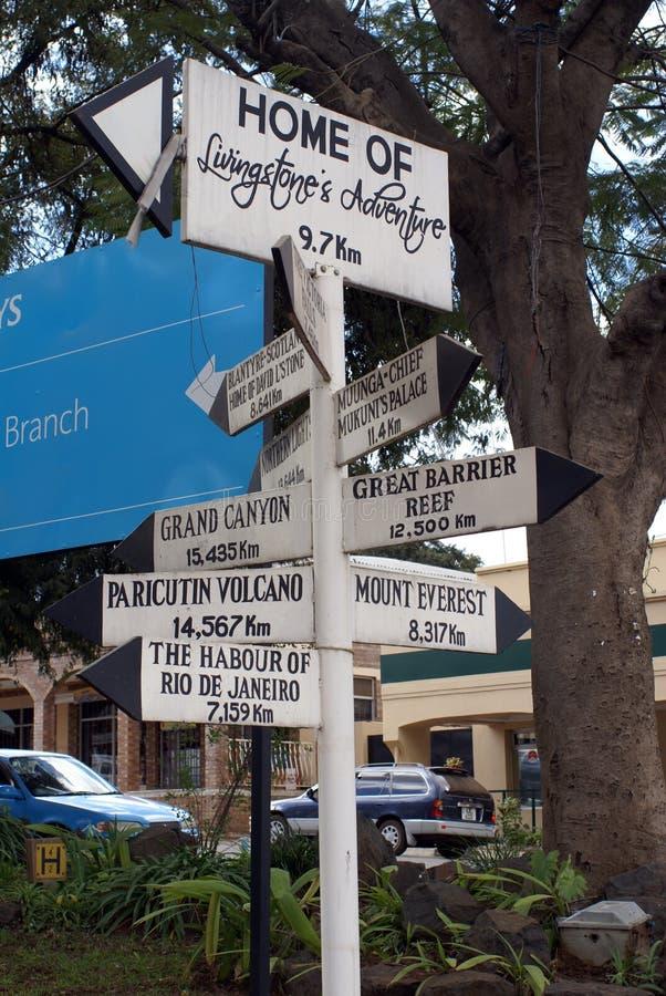 Σημάδι σε Livingstone, Ζάμπια στοκ φωτογραφία με δικαίωμα ελεύθερης χρήσης