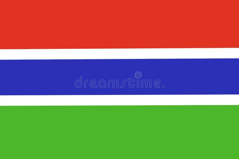 Σημαία εγγράφου της Γκάμπιας ανασκόπηση πατριωτική Εθνική σημαία της Γκάμπιας διανυσματική απεικόνιση